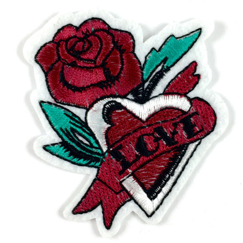 Bordeaux Rode Tattoo Patch Met Hart Bloem En Love Tekst