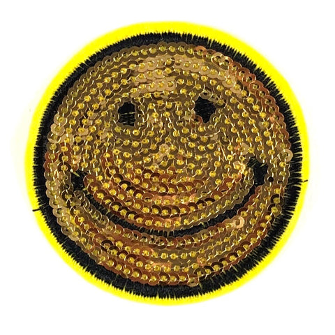 Ronde Goudkleurige Pailletten Smileys Strijk Patch