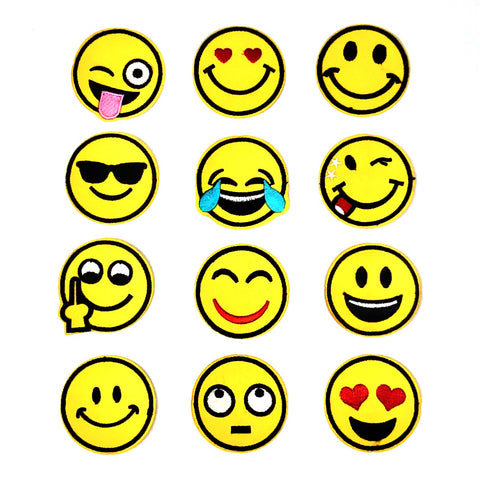 Patch set van 12 gele verschillende emoji smiley strijk patches
