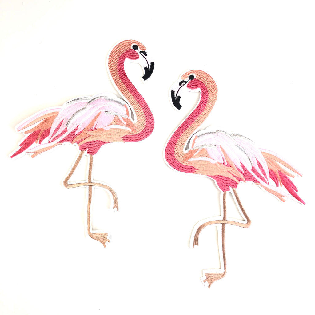 Roze Flamingo XXL Strijk Patches Links en Rechts