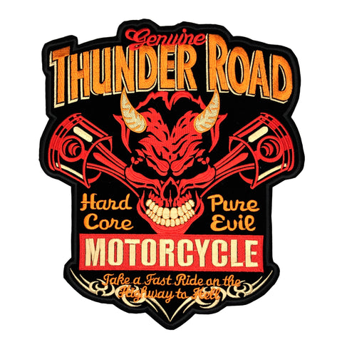 Zwart fluwelen biker XXL strijk patch met de teksten thunder road hard core pure evil motorcycle take a fast ride on the highway to hell