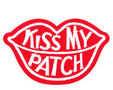 Rode Mond Patch Met Kiss My Patch Tekst
