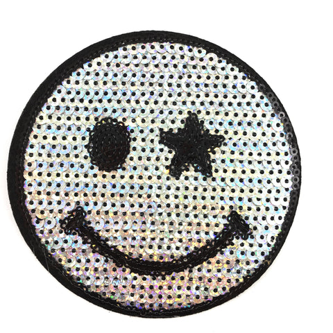 Zilver Kleurige Paillette Smiley Strijk Patch
