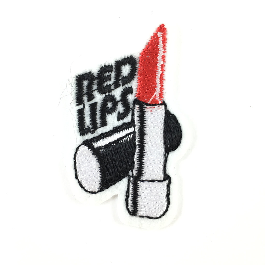 Lipstick Strijk Patch Met Red Lipstick Tekst