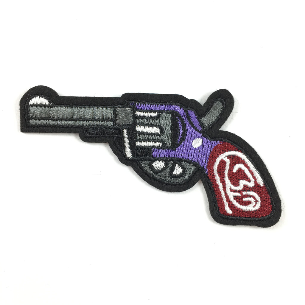 Grijs Klassiek Revolver Pistool Strijk Patch