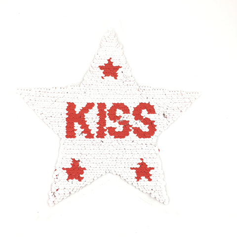 Reversible Ster Met Tekst Kiss XXL Patch