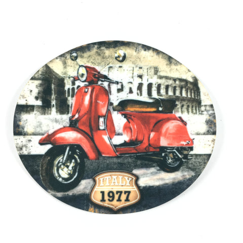 Vintage Retro Rode Scooter Applicatie
