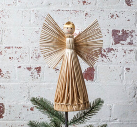 Scandi Rattan Angel tree topper