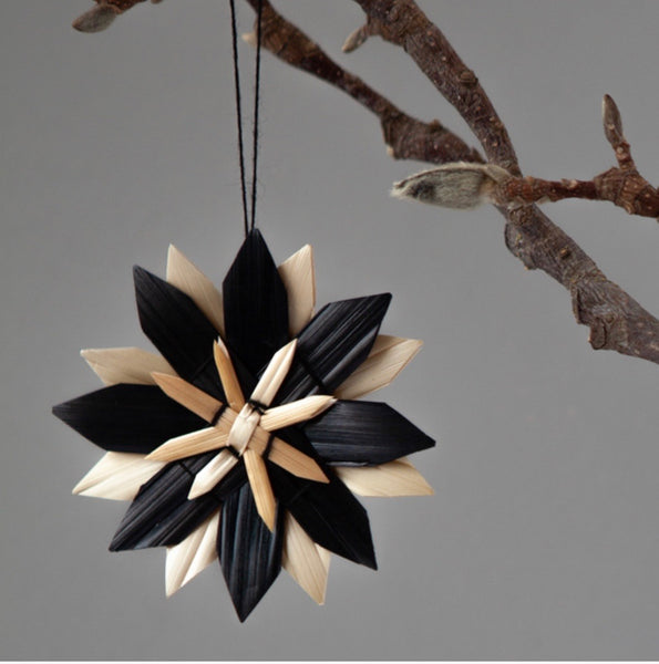 Scandi Black snowflake decoration