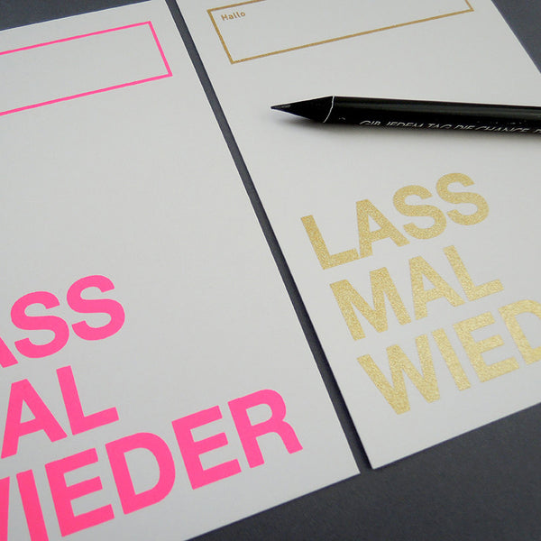 LASS MAL WIEDER / Postcard / Set of 4 / Screen Print / pink, gold / 105x148mm