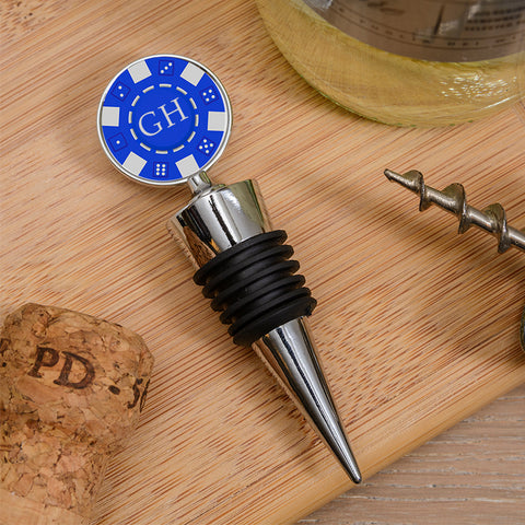 Bottle Stopper - Poker Chip Initials