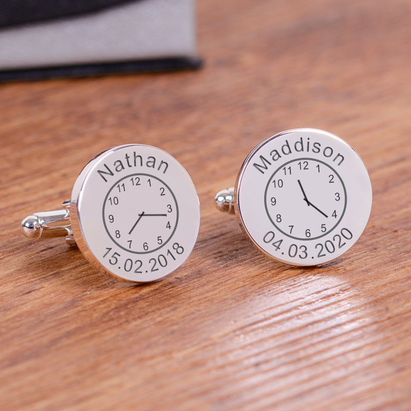 Childs Name, Date and Time of Birth Cufflinks