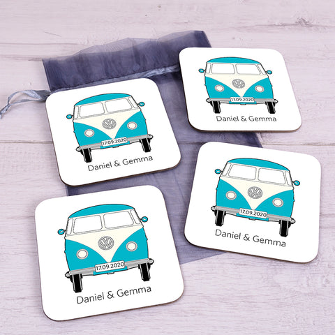 Personalised Camper Van Coaster Set