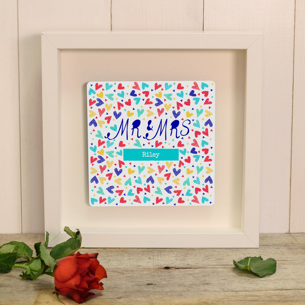 Mr & Mrs Confetti Hearts Box Frame