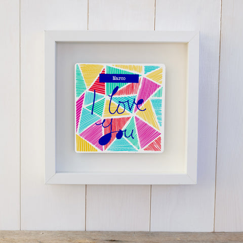 """I Love You"" Geo-Hearts Personalised Valentine's Gift Box Frame"