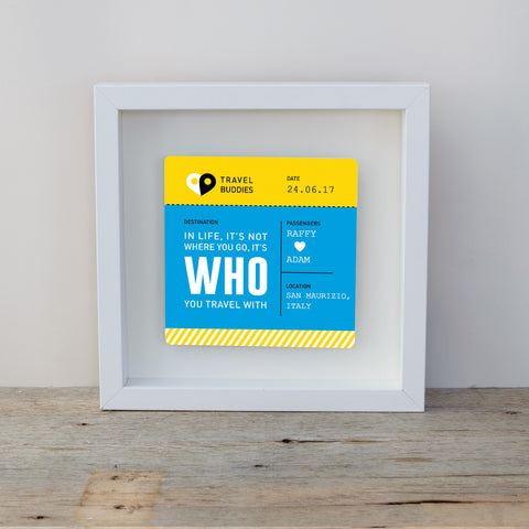 Travel Buddies Boarding Pass Box Frame - Blue & Yellow
