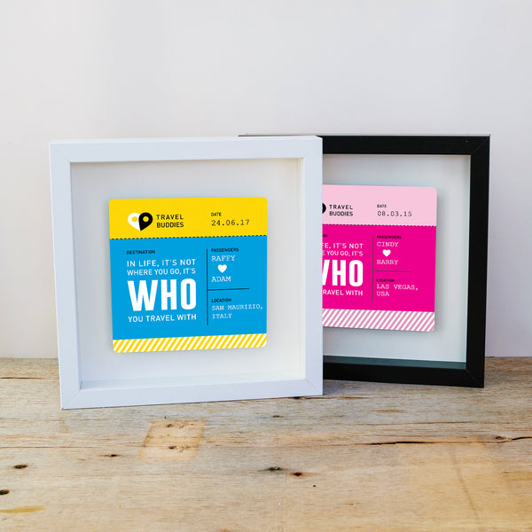 Boarding Pass Personalised Box Frames - Blue & Yellow and Pink
