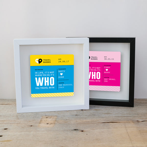 Boarding Pass Travel Themed Personalised Box Frame & Mug Bundle