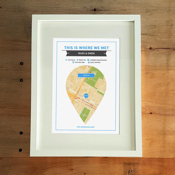 Where We First Met Personalised Print A4 - Blue