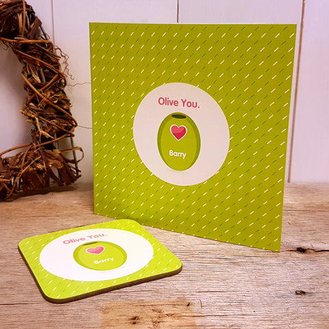 """Olive You"" Personalised Greeting Card & Coaster Gift"