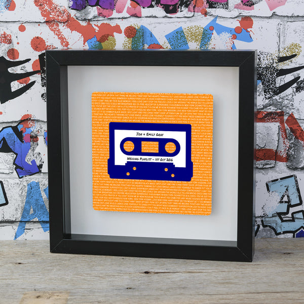 Mixtape / Playlist Cassette Box Frame Personalised Gift Idea - Navy Blue on Orange