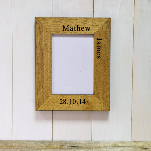 Baby Name & Date Engraved Wooden Frame