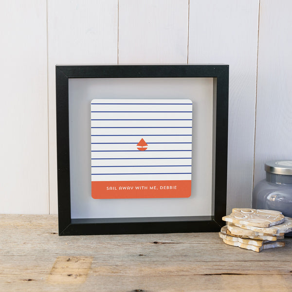 Sail Away With Me Personalised Nautical Gift Box Frame - Black