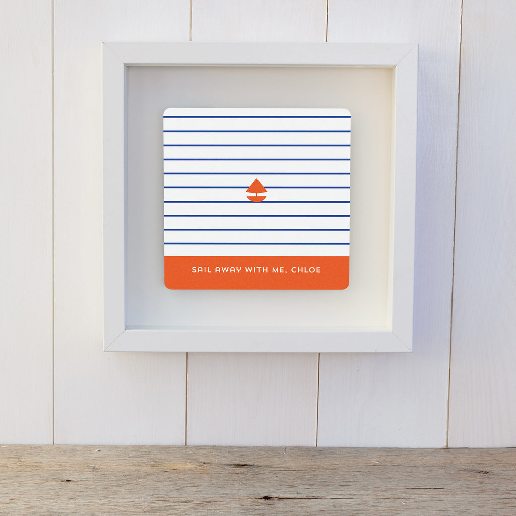 Sail Away With Me Personalised Gift Box Frame - White