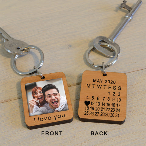 Personalised Photo and Date Key Ring