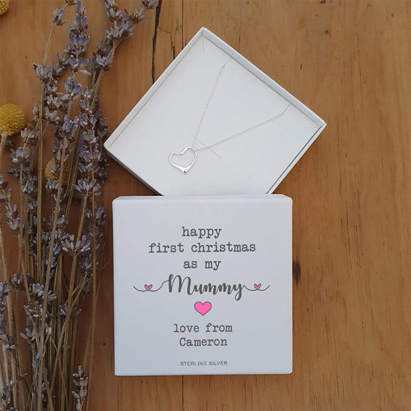 First Christmas Sterling Silver Heart Pendant and Chain