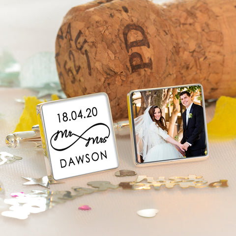 Mr & Mrs Photo Cufflinks