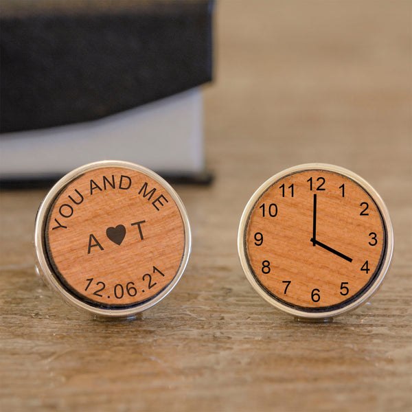 You and Me Special Time Wooden Cufflinks