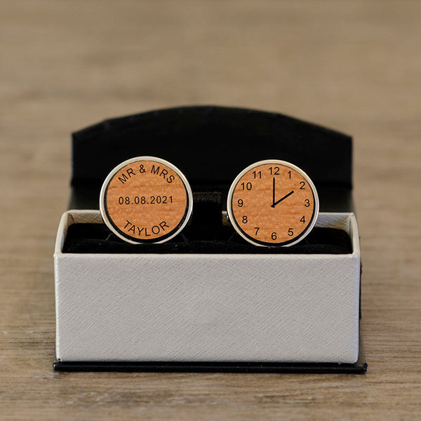 Mr & Mrs Special Time Wooden Cufflinks