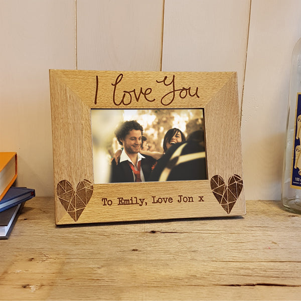 I love you engraved wooden Valentine's gift photo frame by Vicky Yorke