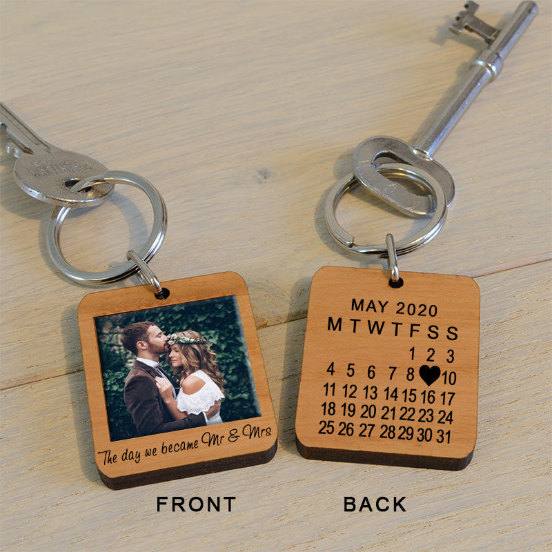 The Day We Became Mr & Mrs Photo Key Ring