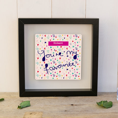 "You're My Favourite ""Hearts"" Box Frame - Black"