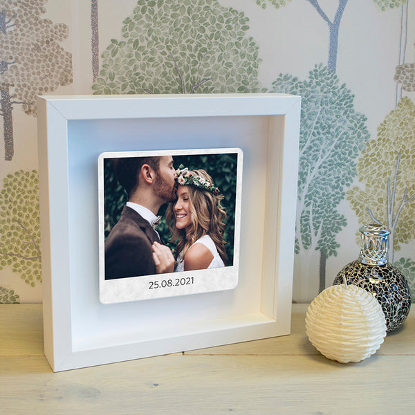Poloroid Style Floating Metal Photo Box Frame - Any Message
