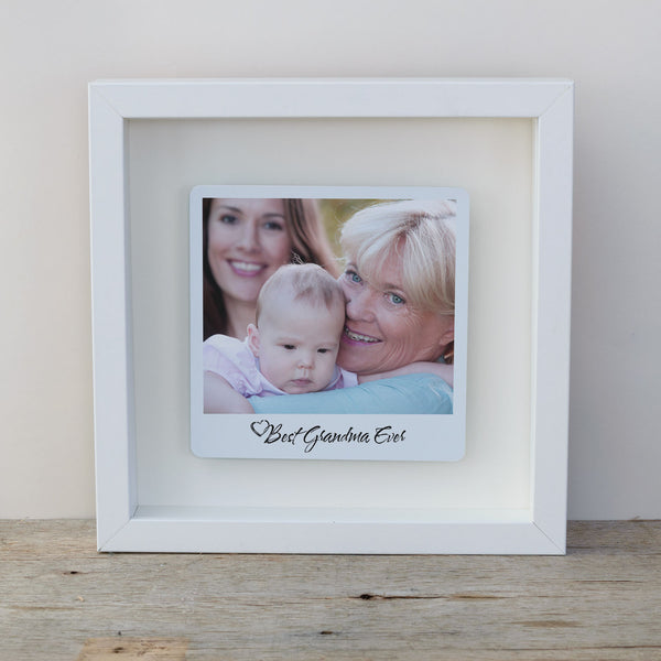 Best Grandma Ever Box Frame Personalised Mother's Day Photo Gift - White Frame