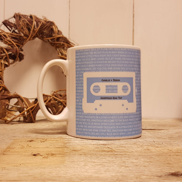 Mixtape / Playlist Cassette Mug - White on Blue