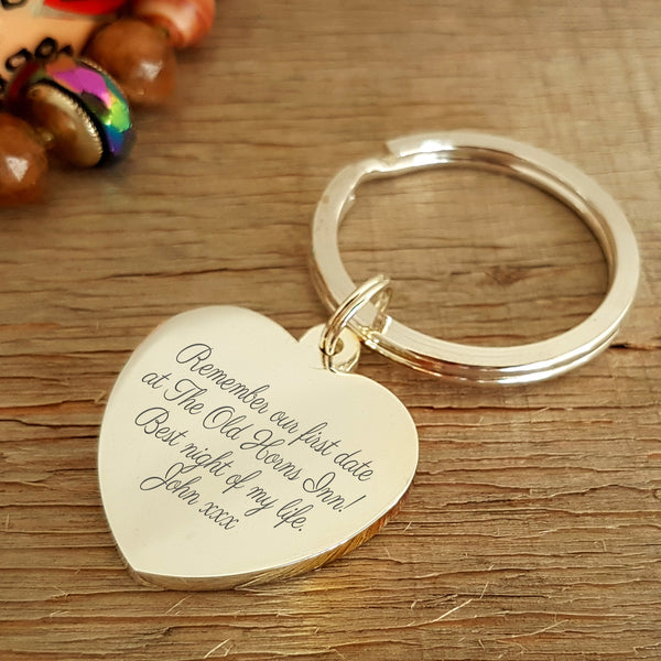 Special Place Map Heart Keyring - Engraving on reverse. Map gift for all occasions