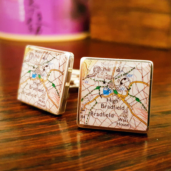 "Personalised ""Where We First Met"" Map Cufflinks - Square"