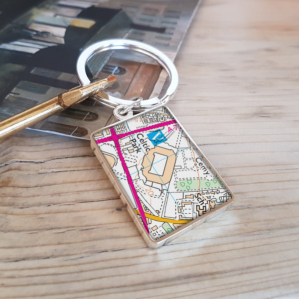 Football Stadium Map Keyring gift for Celtic football fan - Celtic Park