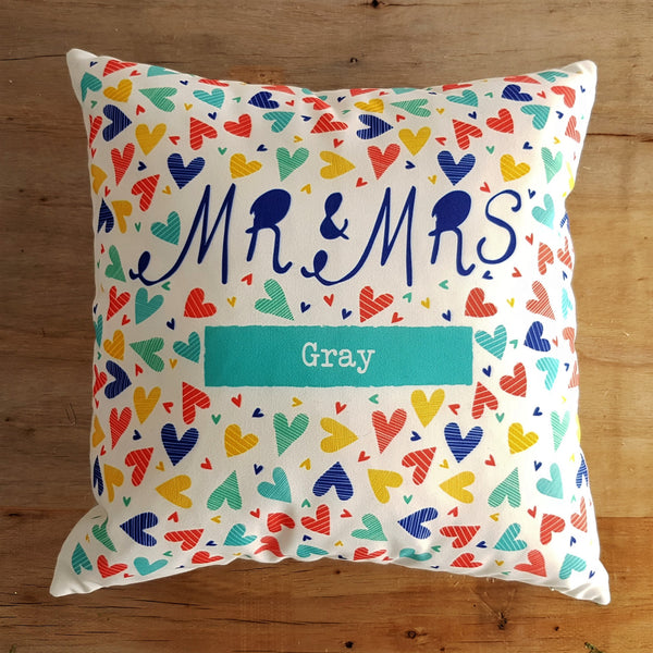 "Confetti Hearts Personalised Mr & Mrs 18"" Cushion"