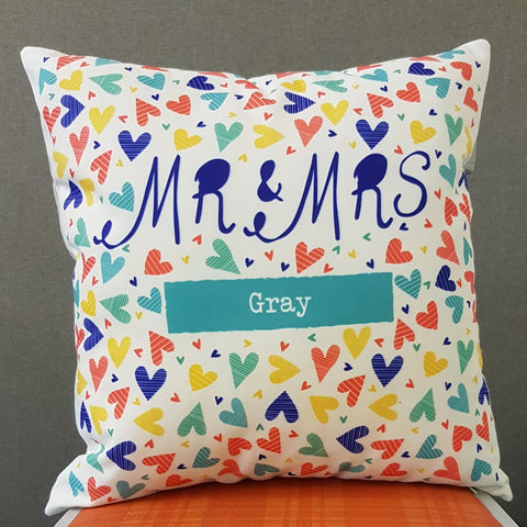 Mr & Mrs Confetti Hearts Personalised cushion gift
