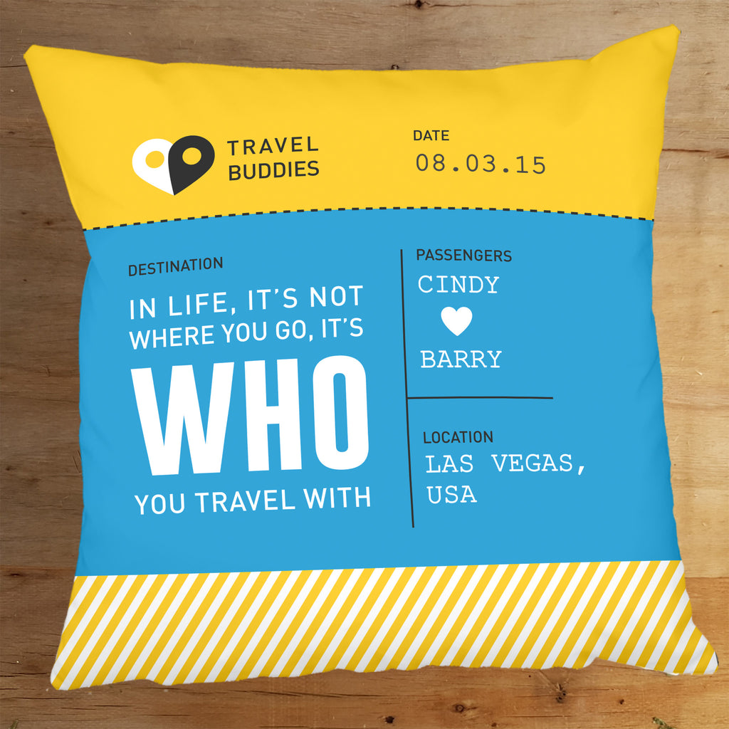Travel Buddies Boarding Pass Cushion - Blue & Yellow