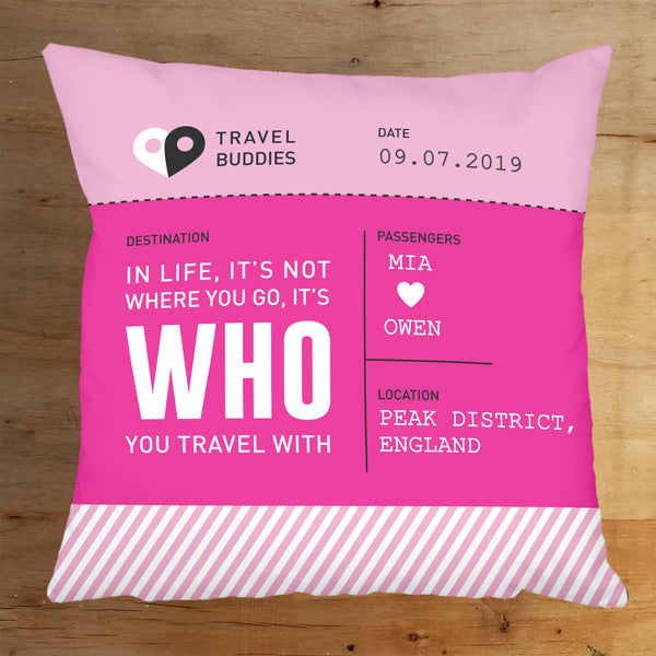 "Boarding Pass Travel Themed Personalised 18"" Cushion"