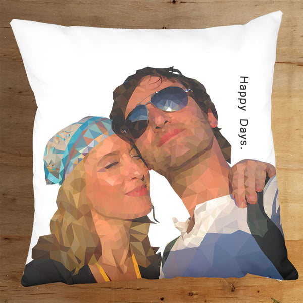 Polygon Art Portrait Personalised Cushion Gift - Couple example