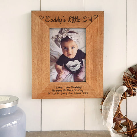 Daddy's Little Girl engraved wooden photo frame father's day gift