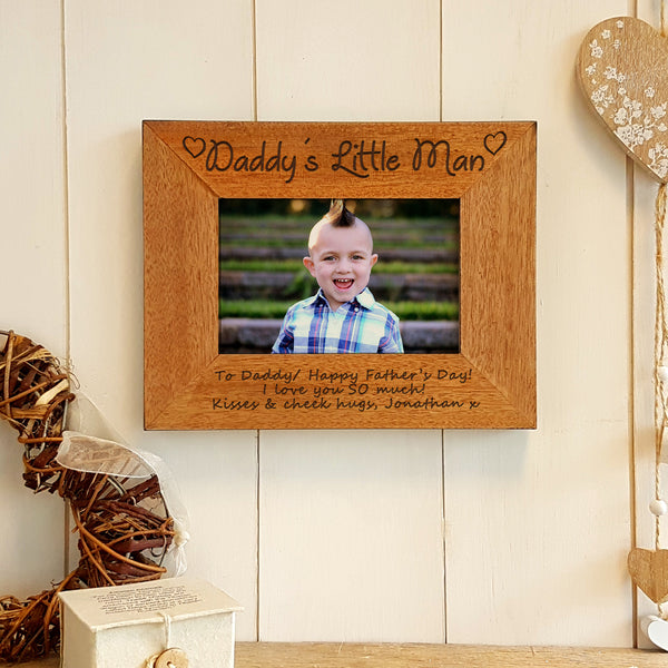 Daddy's Little Man engraved wooden photo frame father's day gift