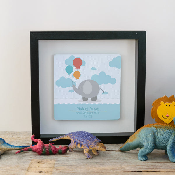 Gift for new baby - cute elephant box fram - blue style black frame